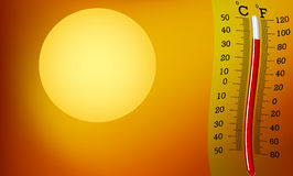 Very hot, sun and thermometer Stock Image