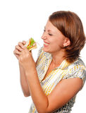 Very hungry girl and sandwich Stock Photos