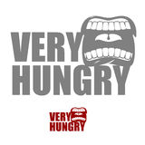 Very hungry. Open mouth with his lips. Logo for empty. Man chewi Royalty Free Stock Images