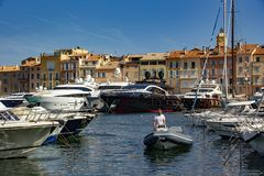 The famous and hype village of Saint-Tropez royalty free stock photo