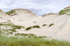 Very impressive sand dunes, blue sky, tall grass and couple exploring the area. Impressive sand dunes, blue sky, tall grass and couple exploring the area stock photo