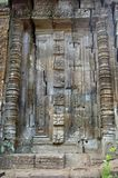 Very intricate. Very ornate carved door of cambodian temple Stock Image