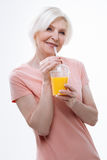 Very kind aged woman feeling courage Stock Photo