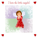 Very kind Christmas illustrationwith little angel Stock Photos