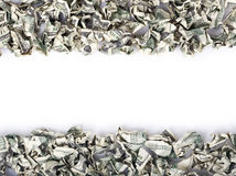 Crimped Cash Frame. A very large amount of 100 US$ money notes organized as top-bottom frames. Can go very well with my large selection of crimped cash words royalty free stock images