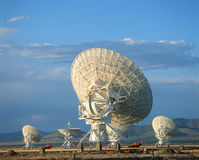 Very large Array of Satellite Dishes. Satellite dishes facing skyward  ,Socorro, New Mexico Stock Photo