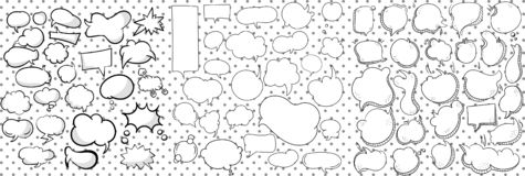 Very large collection of black and white line drawn vector thought, text and speech bubbles for print, cartoon and vector illustration