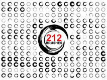 Very large collection or set of 212 black paint round shapes Stock Photography
