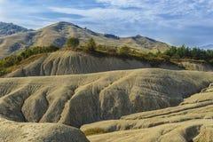Very large ,deep soil cracks in mud volcanoes area Stock Photo