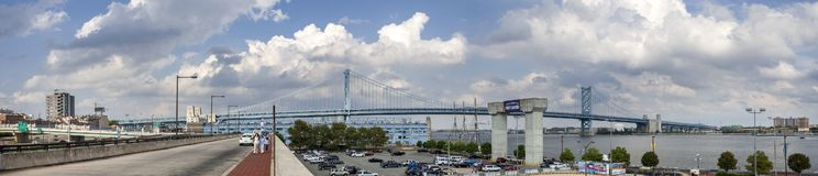 Very large panoramic view of Benjamin Franklin Bridge in Philadelphia, Pennsylvania, USA stock photo