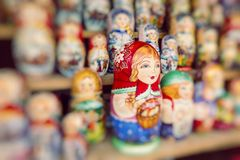 Very large selection of matryoshkas Russian souvenirs at the gif Stock Photos