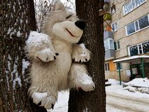 Large children`s toy tree - bear or squirrel. A very large soft toy for a tree - a bear or a squirrel royalty free stock image