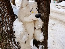 Large children`s toy tree - bear or squirrel. A very large soft toy for a tree - a bear or a squirrel stock photos