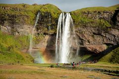 Very large waterfall in Iceland Royalty Free Stock Image