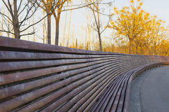 Very large wooden bench Royalty Free Stock Images