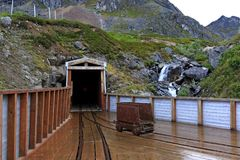 Entrance to the main mine shaft on Hatcher Pass stock photography