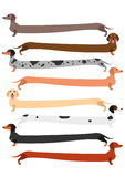 Very long colorful Dachshund set Royalty Free Stock Photography