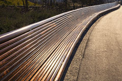 Very long empty wooden bench. In a park at dusk Royalty Free Stock Image