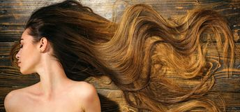 Very long hair on wooden background. Beautiful model with curly hairstyle. Hair Salon concept. Care and hair products. Very long hair on wooden background stock photo