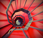 very long red spiral staircase Stock Images