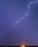 Very long and tortuous lightning Stock Photo