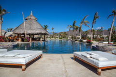 Very luxury hotel standards in a sunny day in Todos Santos, Baja California, Mexico. Stock Images