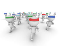 Very Many 3D Characters Running Royalty Free Stock Images