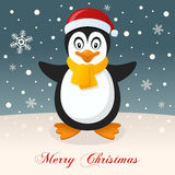 A Very Merry Christmas with a Cute Penguin Stock Photography