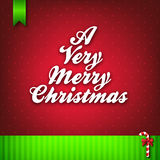 A Very Merry Christmas Greeting Card. A very merry christmas wording on red dotted background and candy cane ribbon with green banner on bottom which can be use royalty free illustration