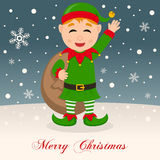 A Very Merry Christmas with a Happy Elf Stock Images