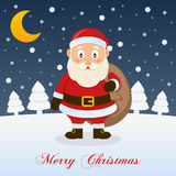 A Very Merry Christmas Night - Santa Claus Stock Photo