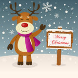 A Very Merry Christmas Sign - Reindeer Royalty Free Stock Photography