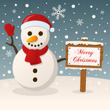 A Very Merry Christmas Sign - Snowman Royalty Free Stock Photos