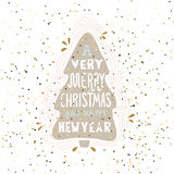 A very Merry Christmas- winter holiday saying. Hand drawn greeting card with handwritten lettering and Christmas tree. Stock Image