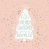 A very Merry Christmas- winter holiday saying. Hand drawn greeting card with handwritten lettering and Christmas tree. royalty free illustration