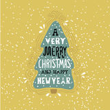 A very Merry Christmas- winter holiday saying. Hand drawn greeting card with handwritten lettering and Christmas tree. Stock Photography