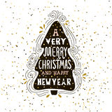 A very Merry Christmas- winter holiday saying. Hand drawn greeting card with handwritten lettering and Christmas tree. Stock Photos