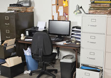 Very Messy Office. With piles of files Royalty Free Stock Photography