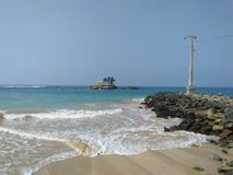 Sea fane of sri lankan photos. Very miracle place.this is a senigama beach side.senigama sea fane.beautiful location.nice sky background.very uniq place.historic Royalty Free Stock Photography