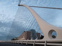 Samuel Beckett Bridge and Convention Centre in Dublin, Ireland. The very modern looking Samuel Beckett Bridge and Convention Centre in Dublin, Ireland. Low stock images