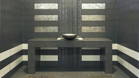 Very modern symmetry bathroom. With sink on a table Stock Photo