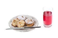 Very mouth-watering muffins and cranberry mousse for dessert Stock Photo