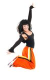 Very much exited woman dancer jumping Royalty Free Stock Photography
