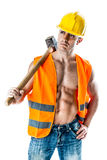 Very muscular worker Royalty Free Stock Photography