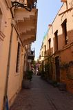 Very Narrow Streets With Beautiful And Colorful Buildings In Chania. History Architecture Travel. Royalty Free Stock Photography