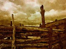 Montana Cattle Farm. Very Nice cattle Corral in Montana stock illustration