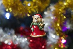 Colorful glowing christmas decoration on the tree Royalty Free Stock Photo