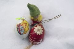 Nice colorful easter eggs with easter decoration Stock Photos