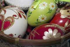 Nice colorful easter eggs close up Stock Photo