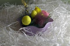 Nice colorful easter eggs close up stock photography